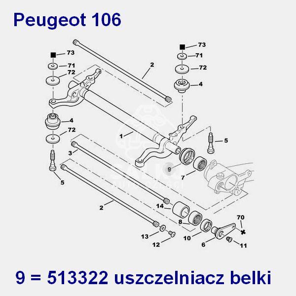 uszczelniacz belki tył Peugeot 106 o wymiarach 48,9x64x22