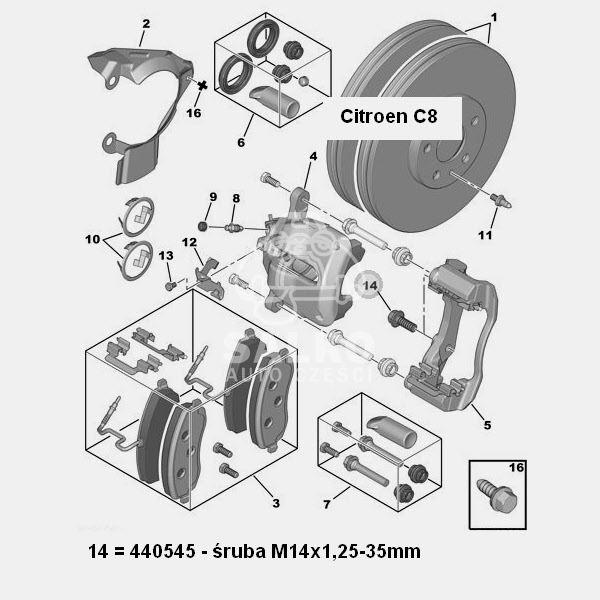 śruba zacisku hamulcowego Citroen C8/ Jumpy/ Peugeot 806