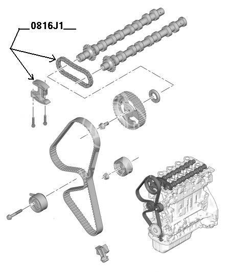 łańcuch rozrządu Citroen, Peugeot 1,6HDi DV6TED4 + ślizg