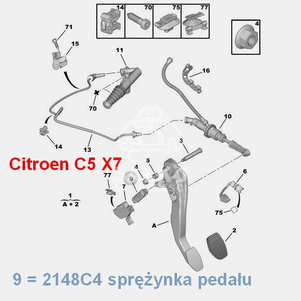 sprężyna pedału sprzęgła Citroen C5 III 1.6HDi (oryginał
