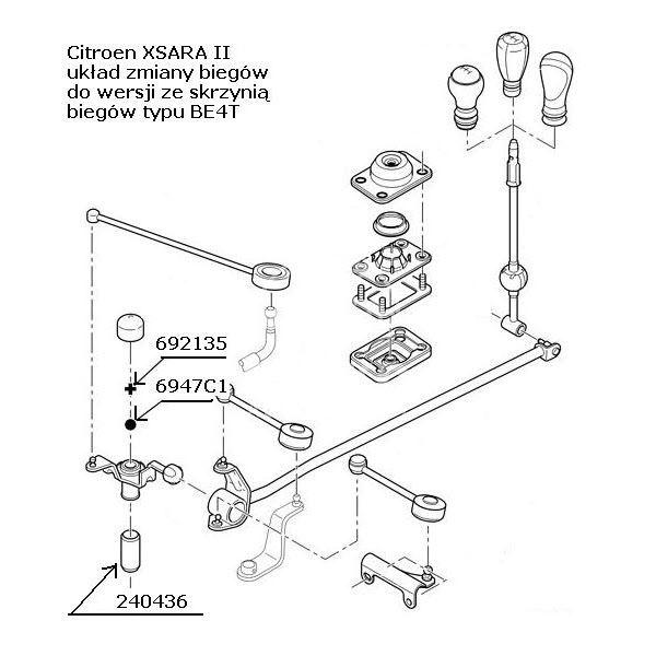 tulejka pośr.biegów Citroen XSARA II, Citroen XANTIA II BE