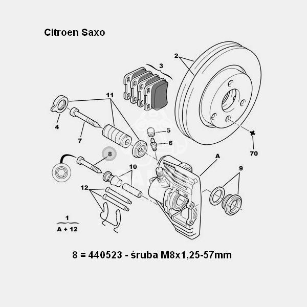 śruba zacisku hamulcowego Citroen AX/ Saxo/ Peugeot 106