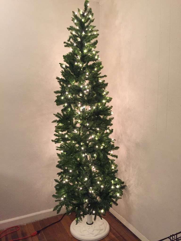 My Christmas Tree lit and ready for ornaments
