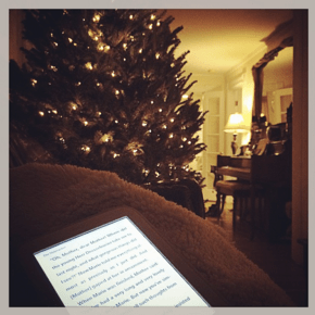 I ramped up the atmosphere by e-reading it next to my Christmas tree.