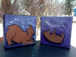 "Left: ""Ursa Major - The Great Bear"" Right: ""Ursa Minor - Little Bear"" Size: 4""x4"" Medium: Fluid Acrylic"
