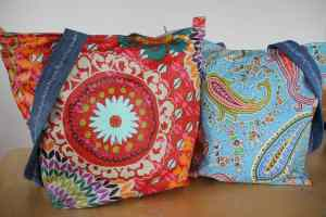 Funky Red and Blue Paisley Zip Top Totes