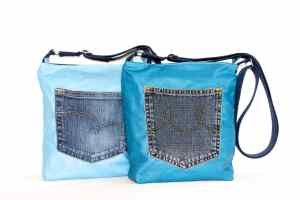 Small Cross Body Bags in Sky Blue & Teal