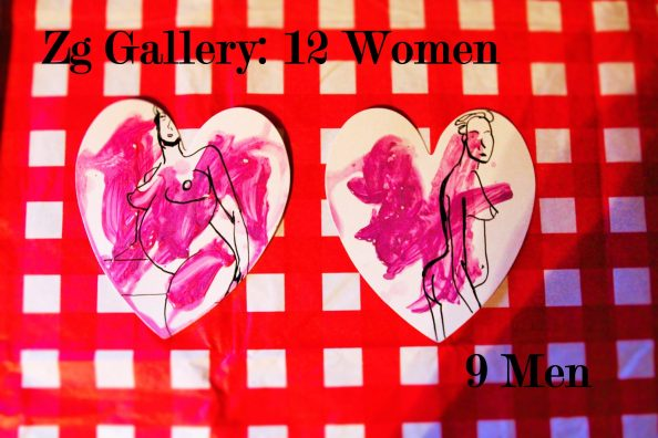 outlines of two nude women in black and white; pink prints over drawings; red and white checked background