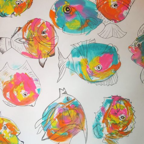 Print of fish in multiple colors