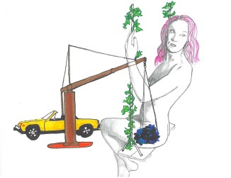 drawing of a woman on a crane