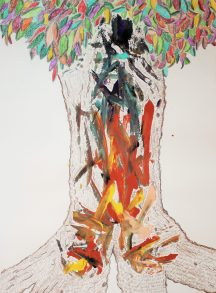 illustration of a tree with abstract colors on the trunk