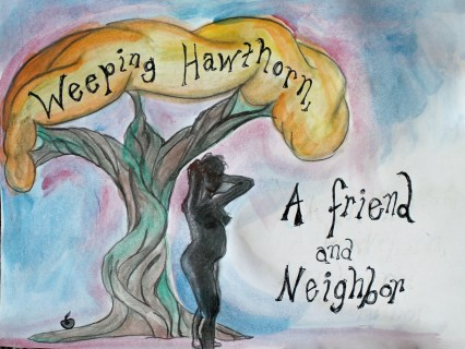 """an illustration of a nude woman standing next to a large tree; text reads """"Keeping Hawthorn, a friend and neighbor"""""""