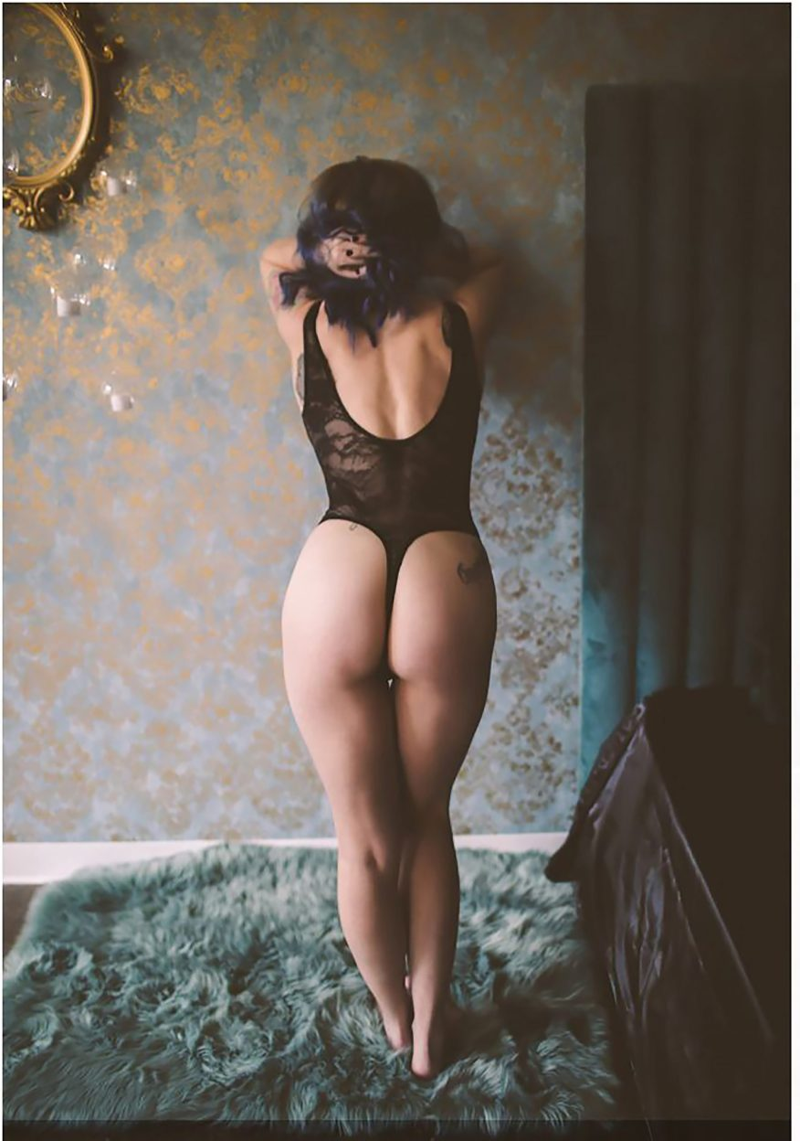 photo of Sally Brown wearing black lace