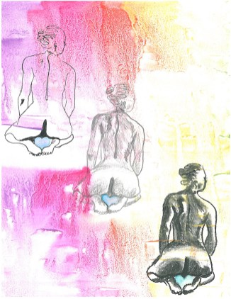 three drawings of nude women kneeling and facing away from the camera
