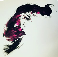 black and pink print on white background