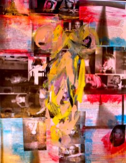 an abstract painting in yellow on top of a collage of text