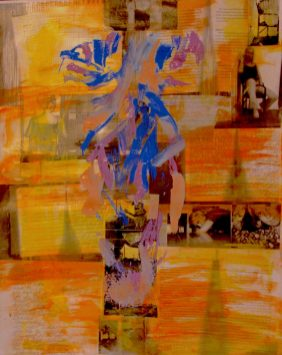 abstract painting of a teen girl in blue on a background of yellow paintings