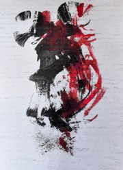 black and red print on white background