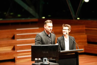 """Actor & Director, Scott Major with """"Starting From Now"""" Creator/Writer, Julie Kalceff presenting the Best Australian Drama Award at the 2018 MWF Gala Awards"""