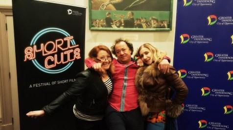 Sally McLean, Richard Moore (Director, Short Cuts Film Festival) and Deborah Leiser-Moore at the 2018 Short Cuts Film Festival where Shakespeare Republic was screened