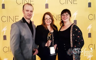Billy Smedley, Sally McLean & Phoebe Anne Taylor at the CINE Awards in New York with their award for Best Digital Series in 2017