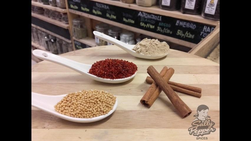 Sally Pepper,especias para CHUTNEY DE MANZANA:Ají picado,Granos de mostaza,Canela molida y Jengibre en polvo.