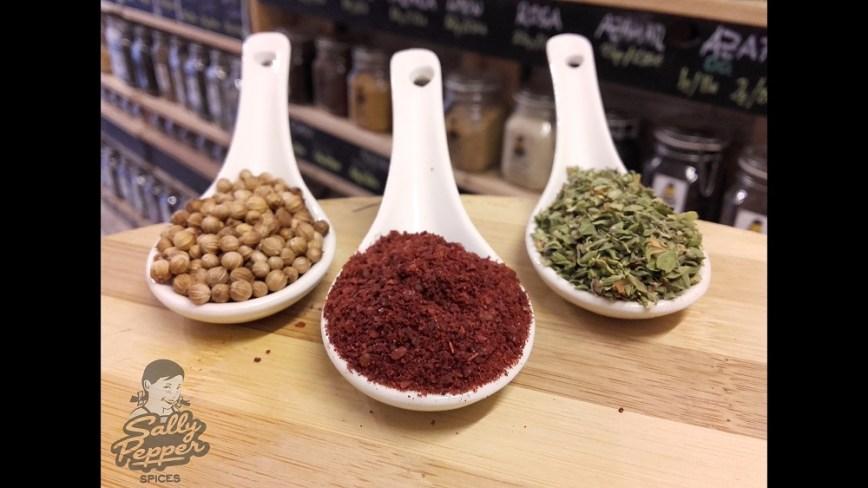 Sally Pepper especias para pargo al horno con zumaque y oregano :cilantro.Libano