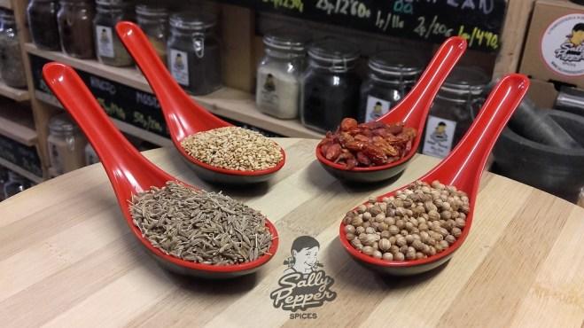 Especias para hacer FALAFEL: Comino, Sésamo (Ajonjolí), Cayena y Semillas de cilantro.