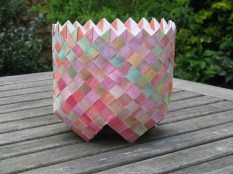A bias weave painted paper basket