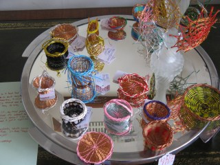 miniature wire and rice paper baskets