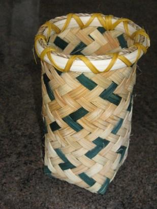 plaited reed/flat cane basket