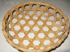 Hexagonal weave cane/reed basket