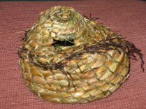 Coiled basket; iris leaves/flax