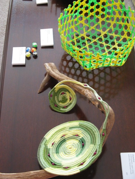 Baskets - hexagonal weave in packing tape and chameleon in paper string and embroidery thread