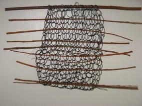 Netted sample using paper string and willow