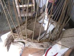 beginning weave of 'boat' basket