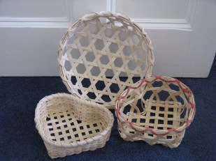 plaited and hexagonal weave cane/reed baskets