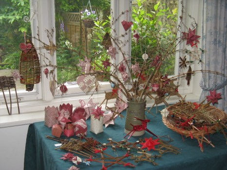 selection of paper, willow and rush Christmas decorations