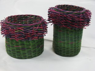 Dyed cane hairy baskets