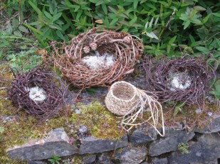 Larch and birch nests and coiled grass/flax basket