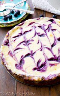 Blueberry Swirl Cheesecake. - Sallys Baking Addiction