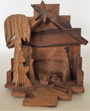 This is a one piece olive wood nativity hand crafted by artisans in the Bethlehem area for travelers visiting the area's holy sites.
