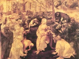 Adoration of the Magi by Leonardo da Vinci in the Uffizi Gallery in Florence