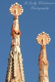 Basilica de la Sagrada Familia Barcelona Spain Bell Tower Pinnacles of the apostles Thomas and Phillip