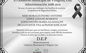 GOBIERNO MUNICIPAL DE VILLAGRÁN, CONFIRMA QUE CUERPOS LOCALIZADOS EN BOLSAS…