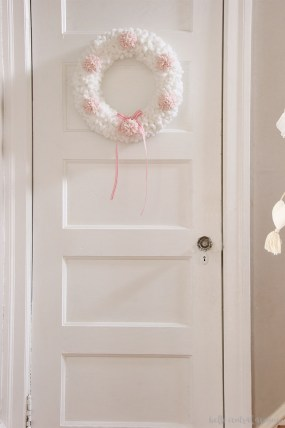 Yarn and Pom Pom Valentine Wreath