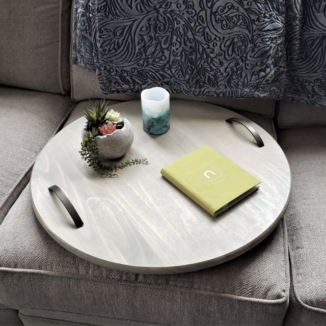 tabletop tray on sofa