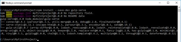 WebStack_CmdInstallGulpServe