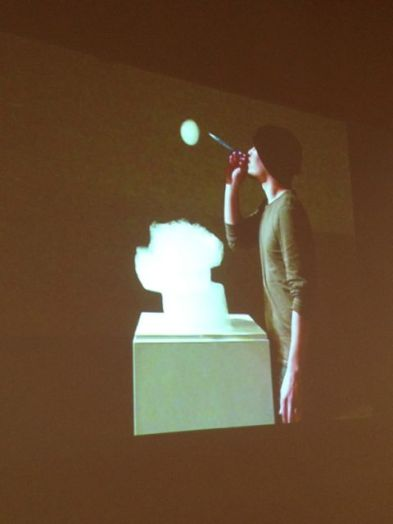 a bubble sculpture of my breath (performance art video), chow man-hing