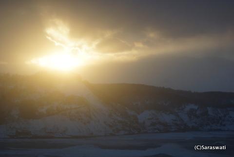 塩谷からの夕陽